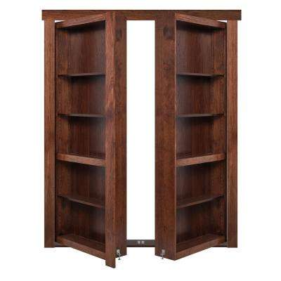 48 in. x 80 in. Flush Mount Assembled Hickory Dark Stained Out-Swing Solid Core Interior French Bookcase Door