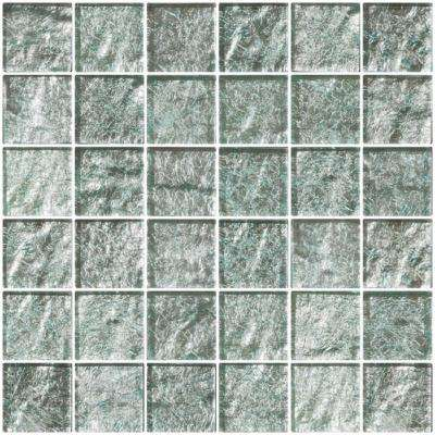 12 in. x 12 in. x 8 mm Tile'ESQUE Iced Aqua Steel Blue Metallic Glass Mesh-Mounted Mosaic Tile