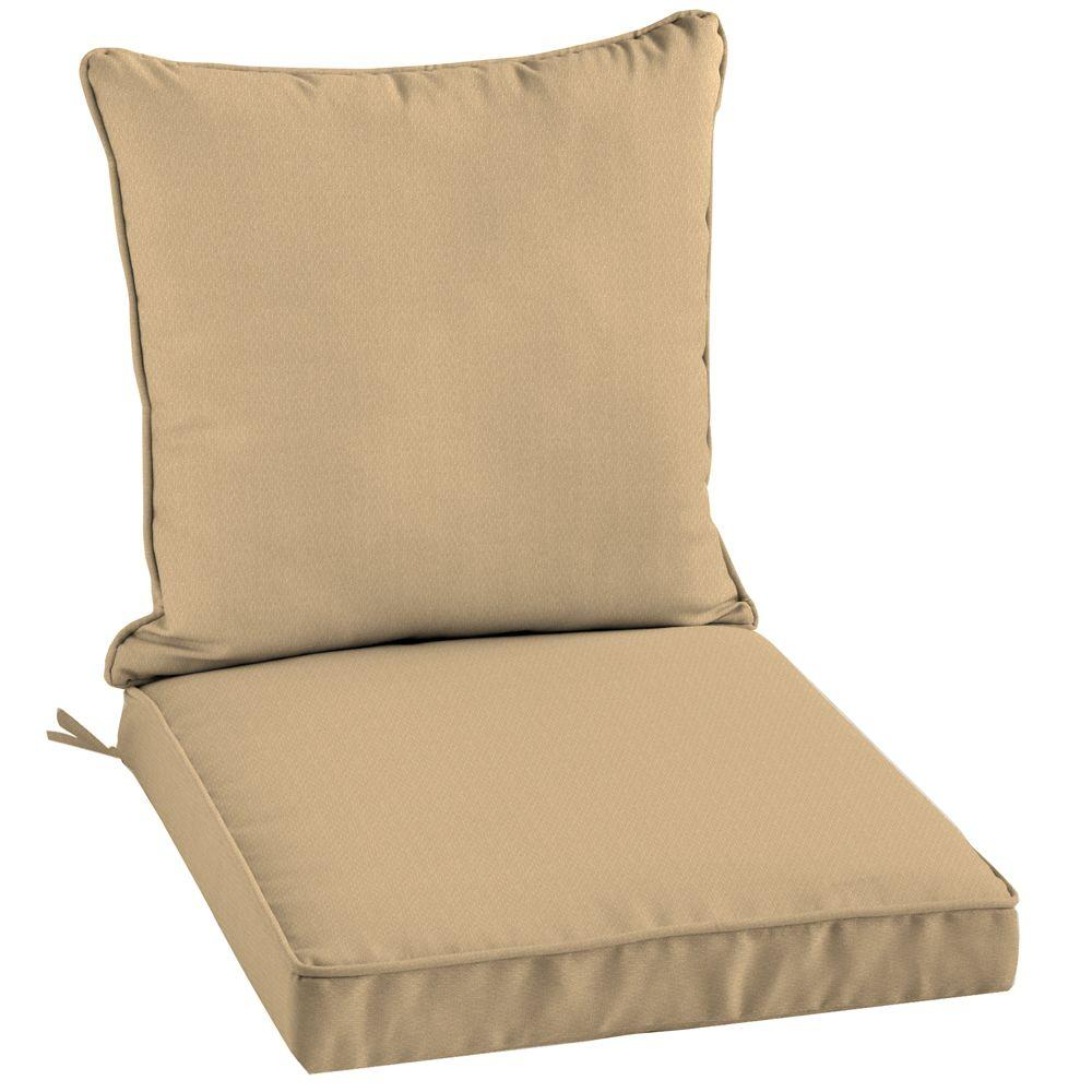 Arden Twilight Solid Khaki 2-Piece Welted Outdoor Chair Cushion-DISCONTINUED