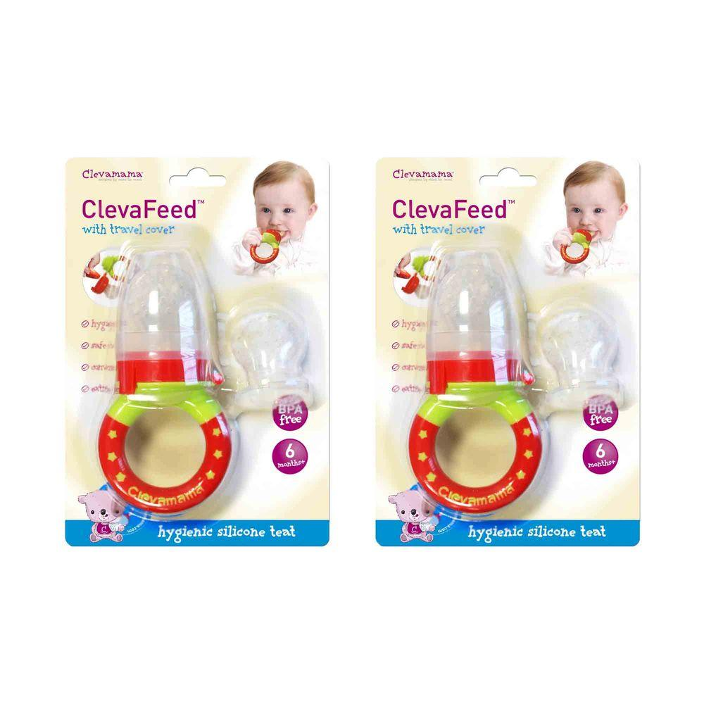 Clevamama ClevaFeed Baby Safe Feeder (2 per Pack), Red