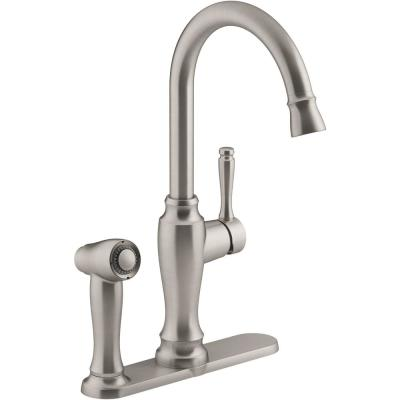 Arsdale Single-Handle Standard Kitchen Faucet in Vibrant Stainless with On-Deck Sidespray