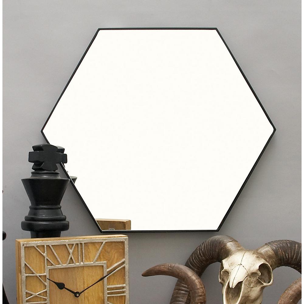 24 in. x 21 in. Modern Hexagonal Black Wall Mirror