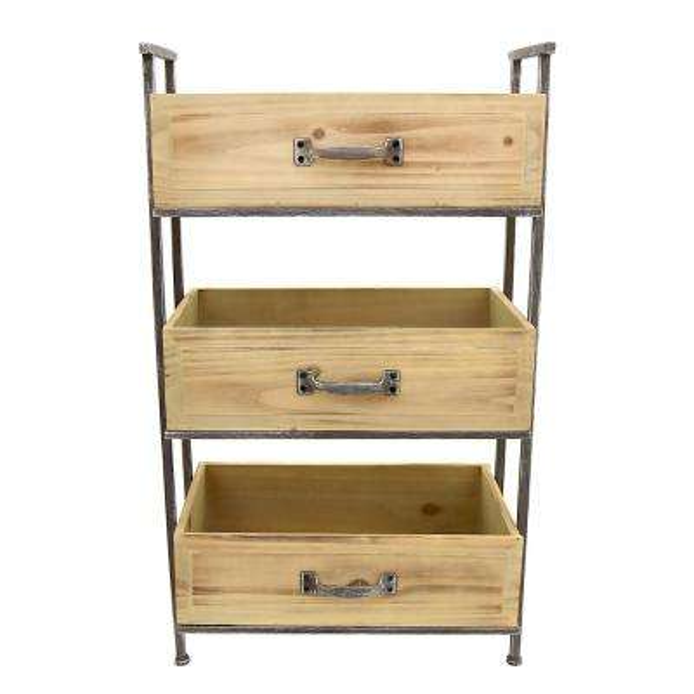 18.5 in. x 10 in. Wood and Metal Storage Rack 3-Tier in Brown