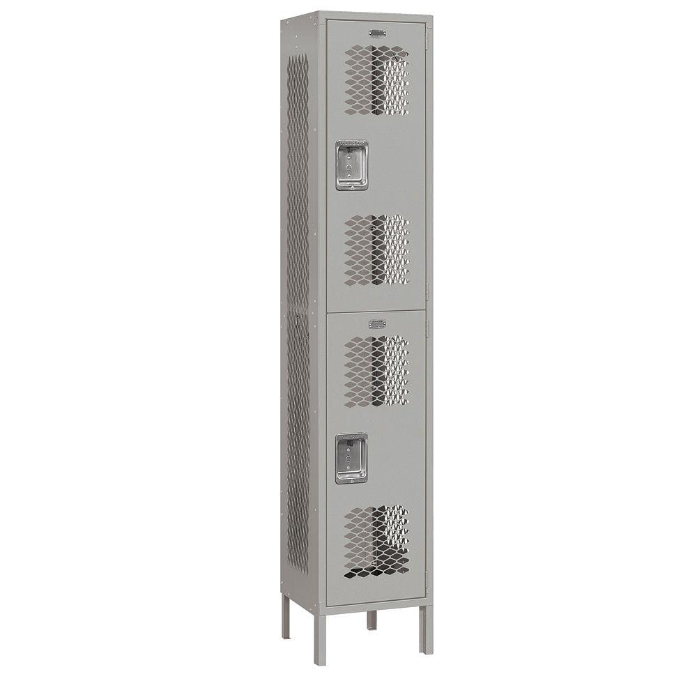 Salsbury Industries 82000 Series 15 in. W x 78 in. H x 15 in. D 2-Tier Extra Wide Vented Metal Locker Unassembled in Gray