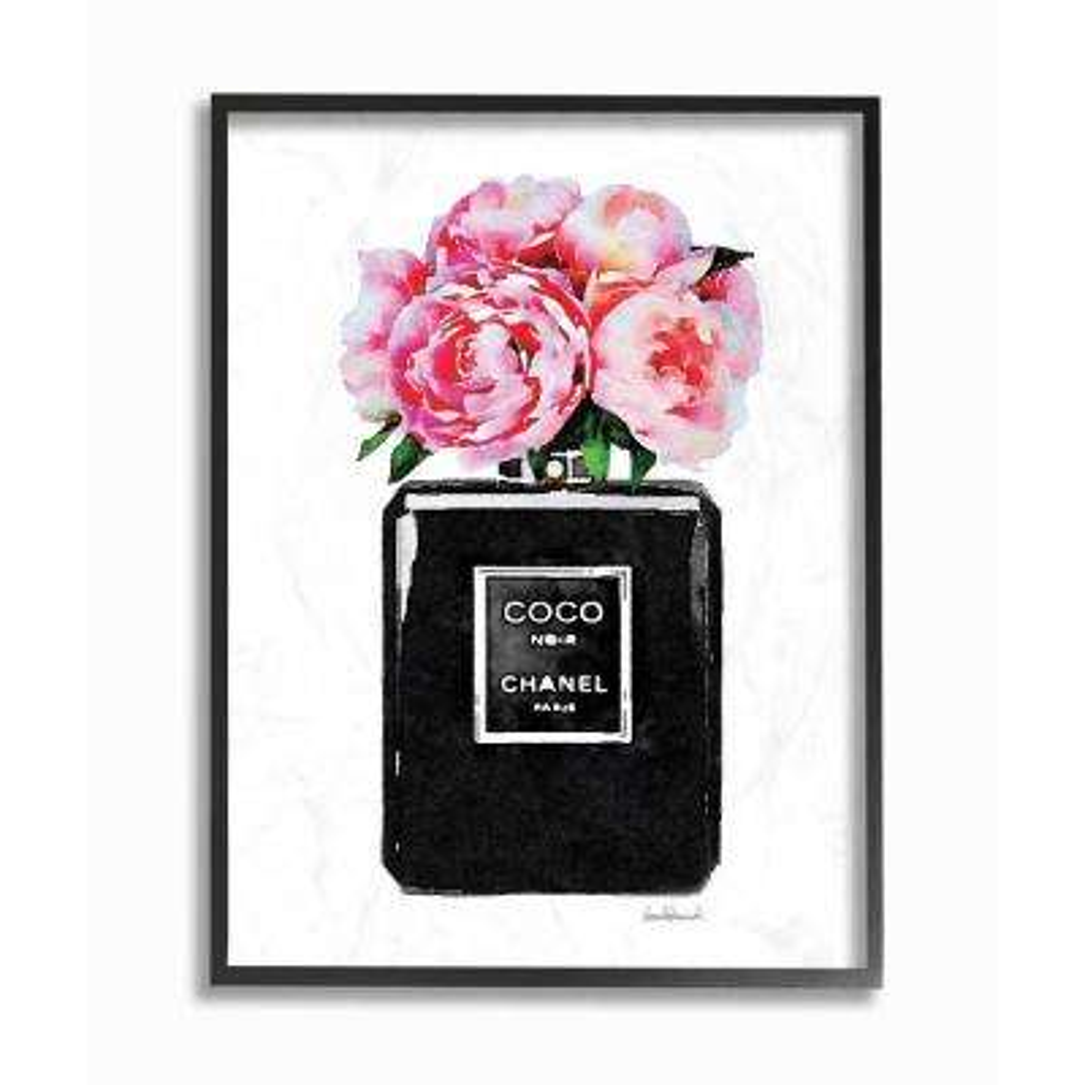 "16 in. x 20 in. ""Glam Perfume Bottle Flower Black Peony Pink"" by Amanda Greenwood Wood Framed Wall Art"