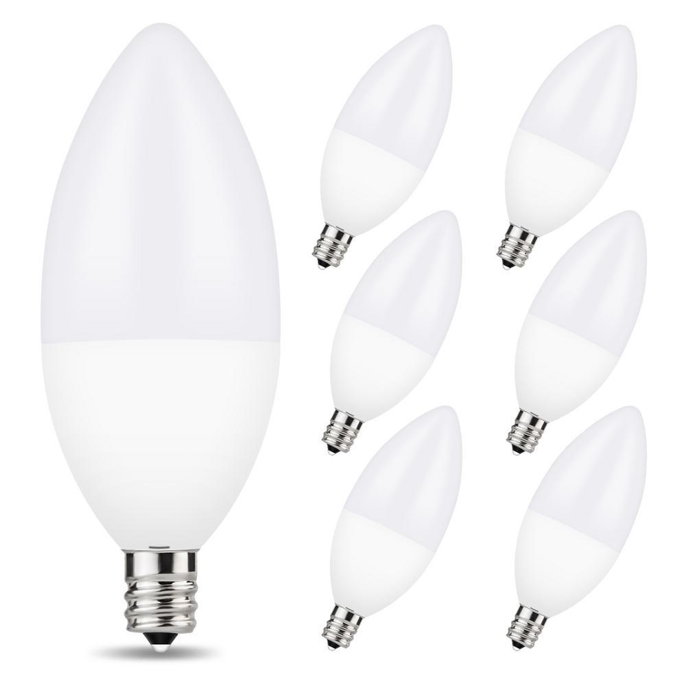 Yansun 60 Watt Equivalent B11 6 Watt Dimmable E12 Candelabra Base Led Light Bulb In Warm White 3000k 6 Pack H Lz08802de12 6 The Home Depot