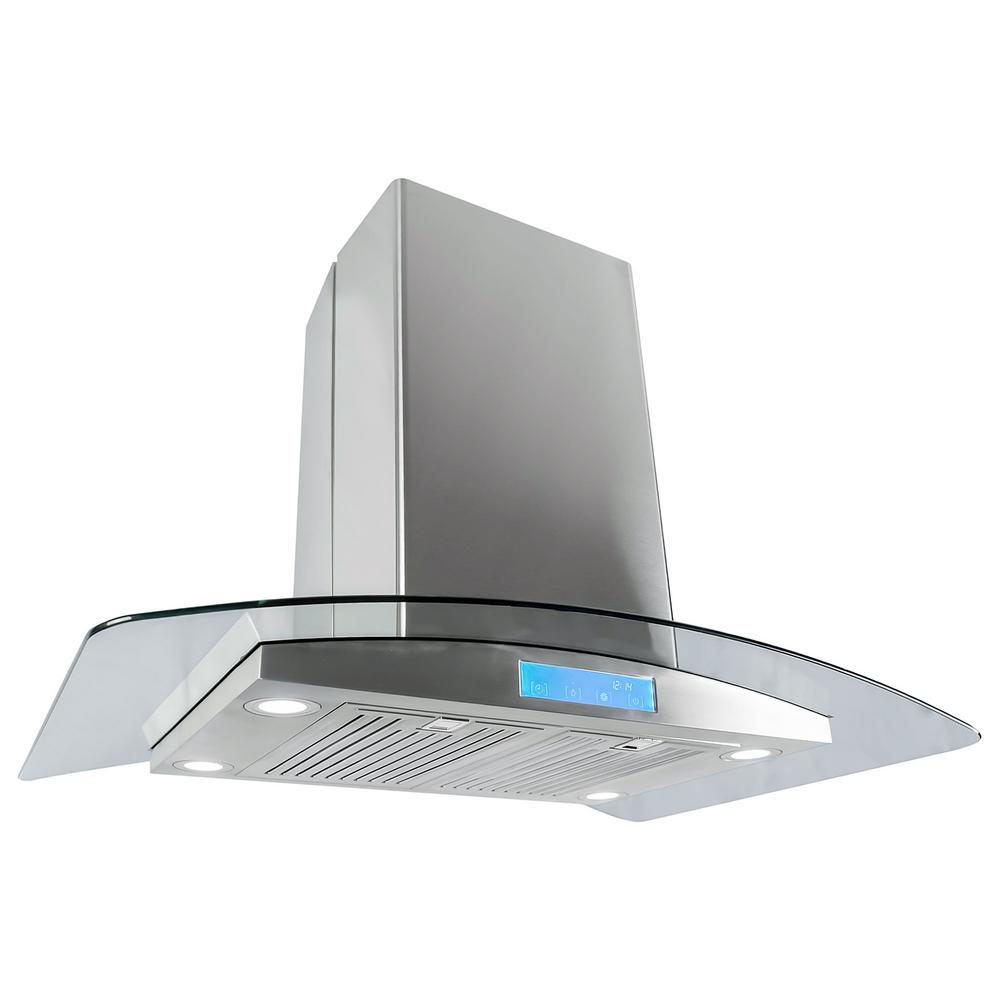 cosmo 36 in. convertible island mount range hood in stainless
