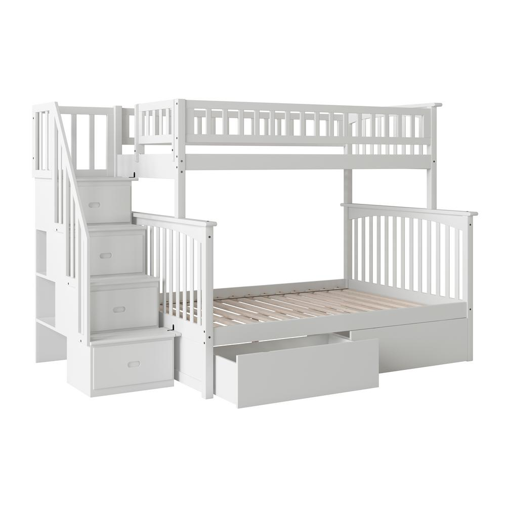 Columbia Staircase White Twin Over Full Bunk Bed with 2-Urban Bed