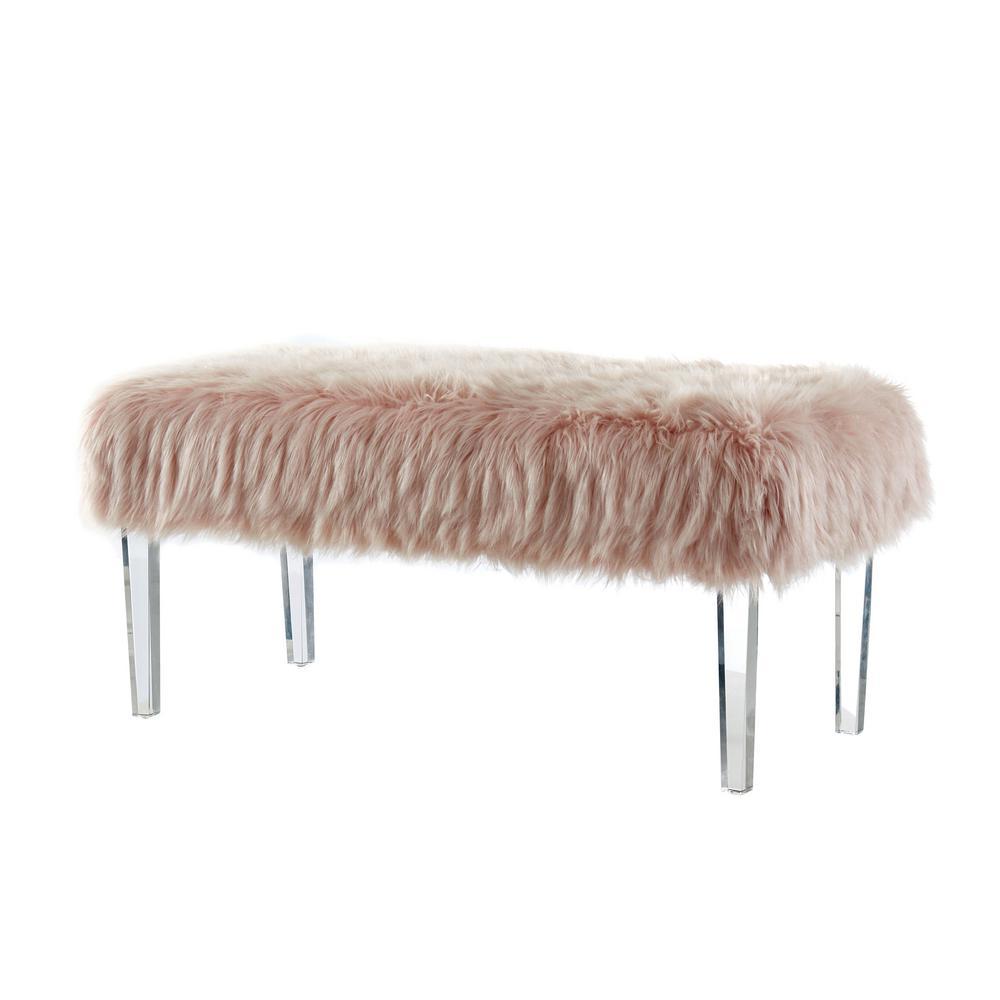Patina Pink Faux-Fur Bench