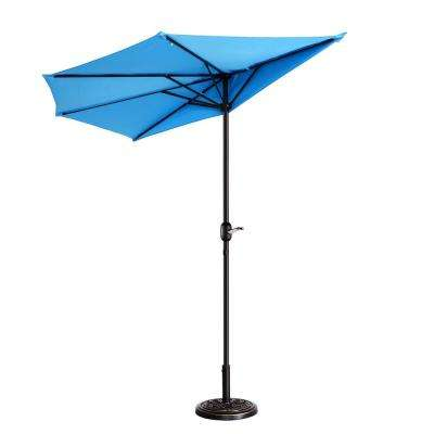 9 ft. Steel Market Half Patio Umbrella in Blue