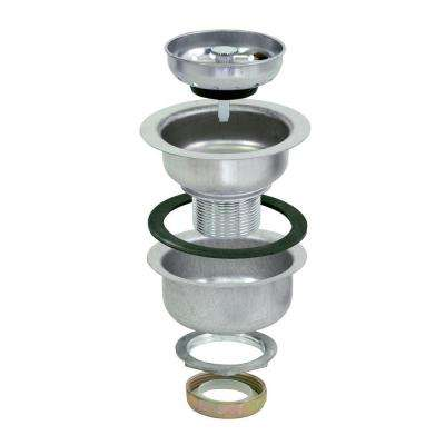 4-1/2 in. Double Cup Sink Strainer with Extended Shank, Stainless Steel