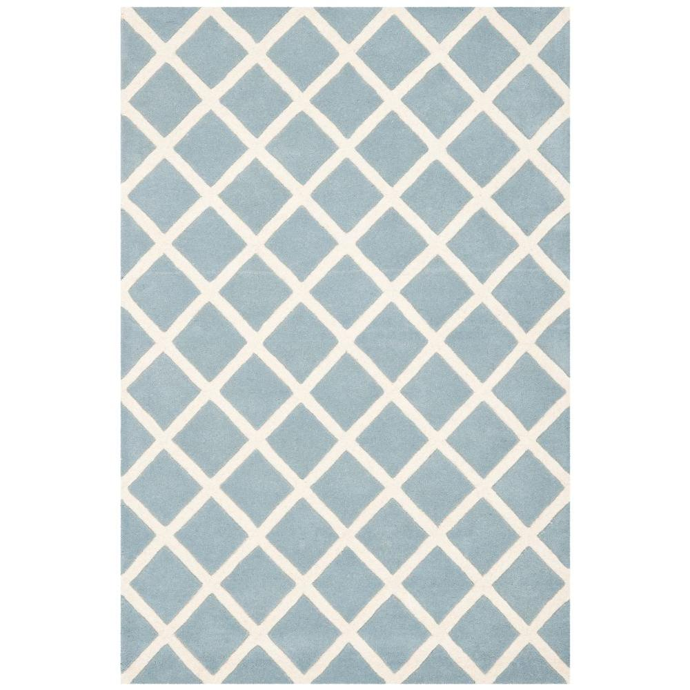 Safavieh Chatham Blue Ivory 4 Ft X 6 Ft Area Rug Cht718b