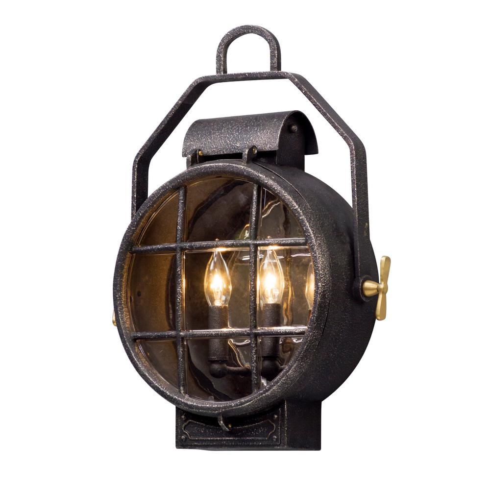 Troy Lighting Point Lookout 2 Light Aged Silver With Polished Br Accents Outdoor Wall Lantern Sconce