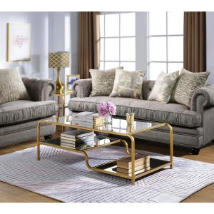 Amelia Gold And Clear Glass Metal Coffee Table