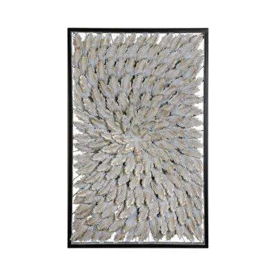 "28 in. x 18 in. ""Goldplume"" Wood and Metal Framed Wall Art"