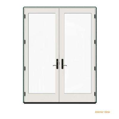 72 in. x 96 in. W-4500 Contemporary Green Clad Wood Right-Hand Full Lite French Patio Door w/White Paint Interior