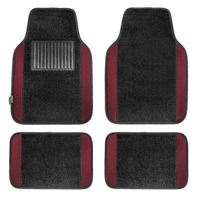 Burgundy Durable 4-Piece 25 in. x 17 in. Carpet Floor Mats