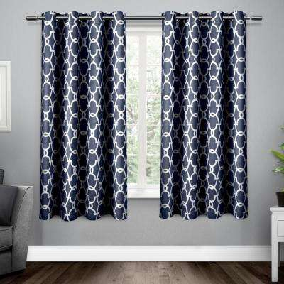 Gates 52 in. W x 63 in. L Woven Blackout Grommet Top Curtain Panel in Peacoat Blue (2 Panels)