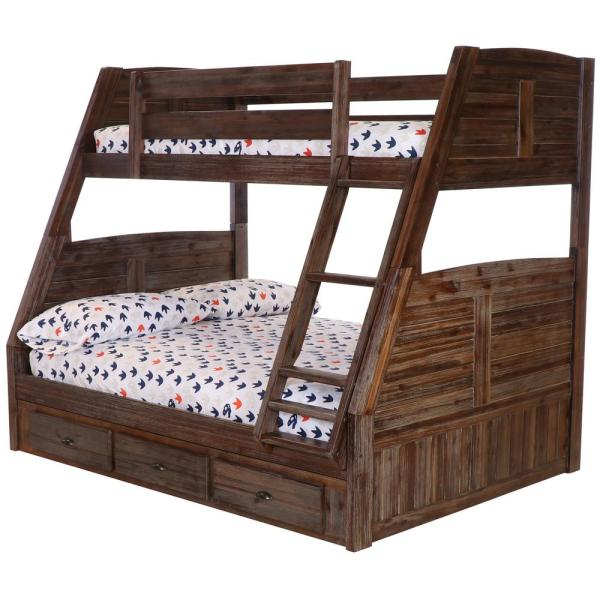Chestnut Twin Over Full Solid Wood Bunkbed with 3-Drawers Underneath