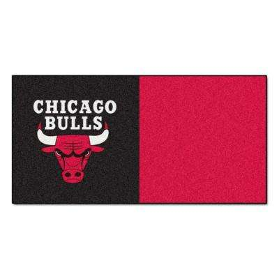 NBA Chicago Bulls Black and Red Pattern 18 in. x 18 in. Carpet Tile (20 Tiles/Case)