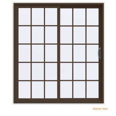 72 in. x 80 in. V-4500 Contemporary Brown Painted Vinyl Right-Hand 15 Lite Sliding Patio Door w/White Interior