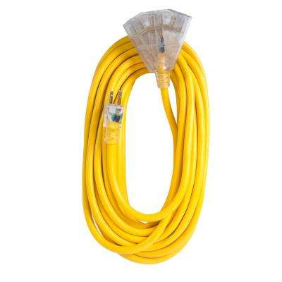 100 ft. 12/3 SJTW 15 Amp/125-Volt Outdoor Triple Tap Extension Cord, Yellow