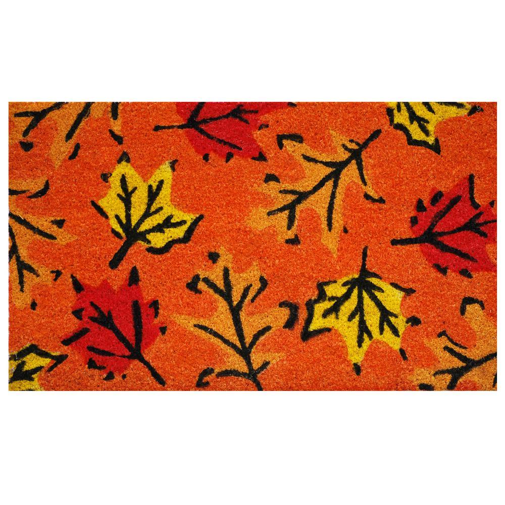 Fall Leaves 17 in. x 29 in. Coir Door Mat
