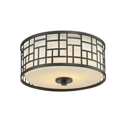 Velia 2-Light Dark Bronze Steel Modern Sleek Flush Mount with Round Matte Opal Glass Shades