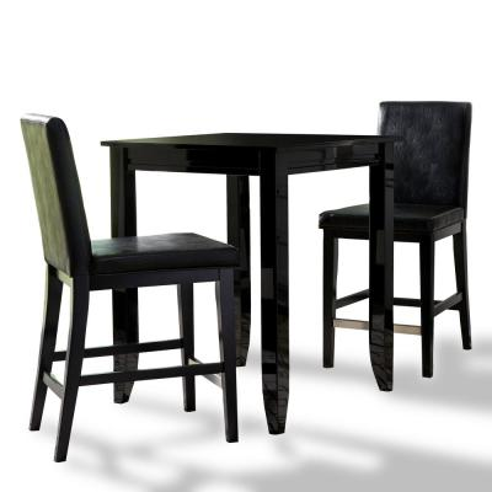 Linear Black 3-Piece High Dining Set