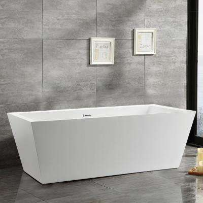 Tarbes 67 in. Acrylic Flatbottom Freestanding Bathtub in White