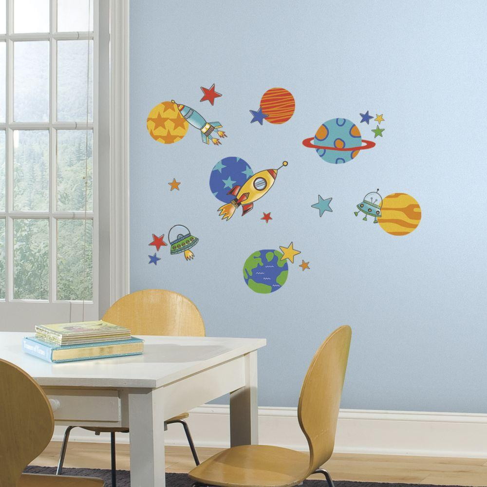 RoomMates 5 in. x 11.5 in. Planets & Rockets Peel and Stick Wall Decal