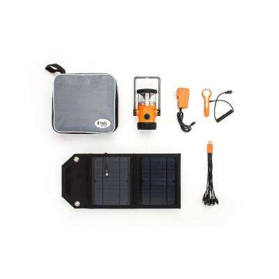 Heli 2200 Kit AC Wall Adapter/10-in-1/DC Car Charger/Carrying Case/7-Watt Solar Panel LED Rechargeable Lantern in Orange