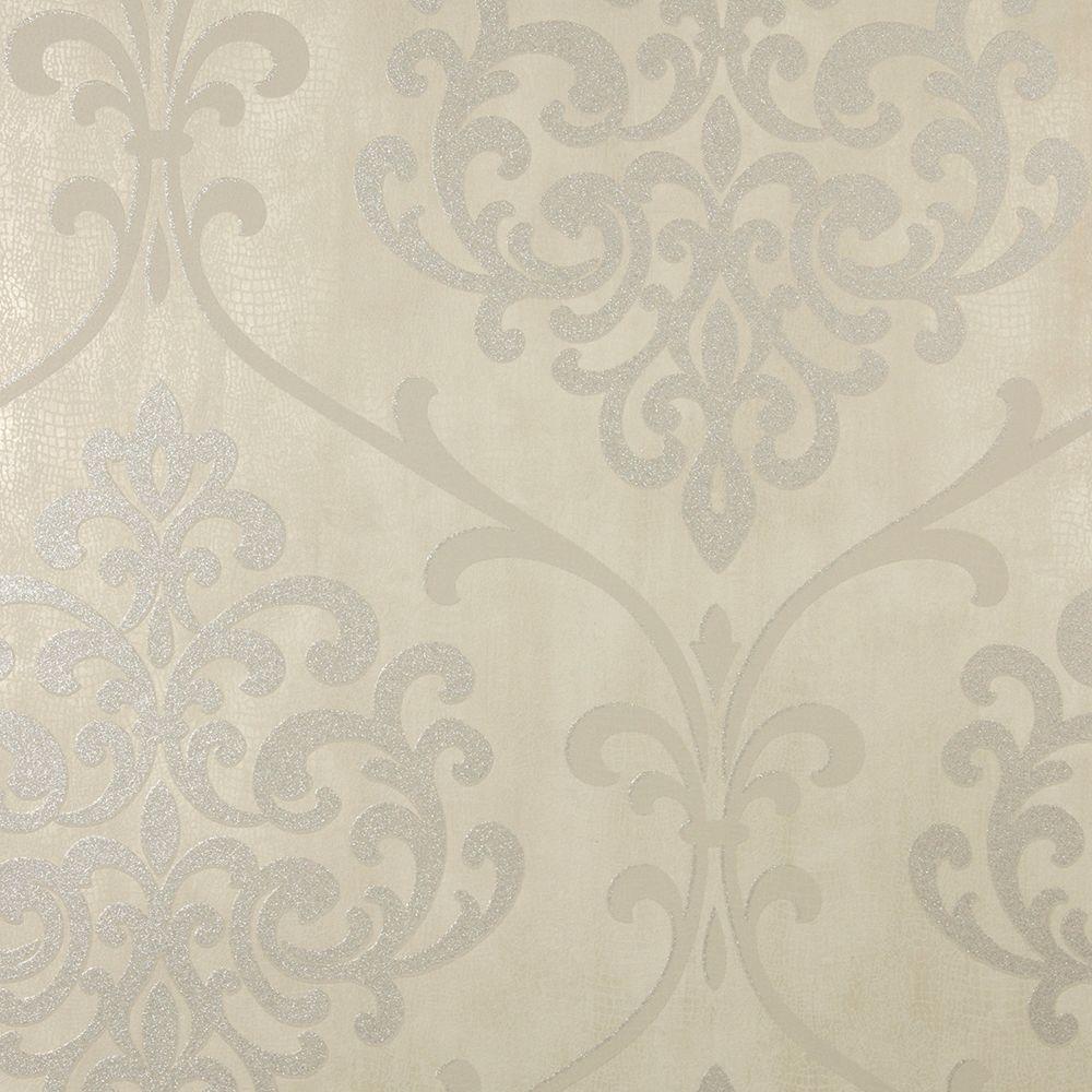 Ambrosia Taupe (Brown) Glitter Damask Wallpaper