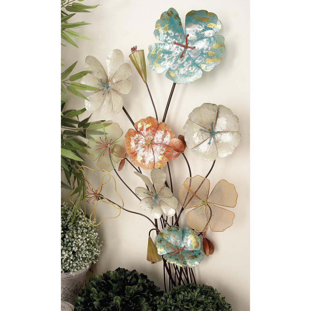 18 in. x 37 in. Rustic Iron Flower Bouquet Metal Wall