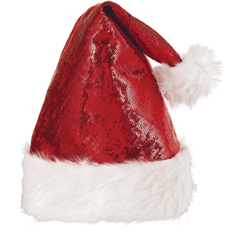 eb3646a2f08 Amscan 15 in. x 11 in. Santa Sequin Christmas Hat (2-Pack)-397659 ...