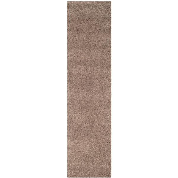 California Shag Taupe 2 ft. x 9 ft. Runner Rug
