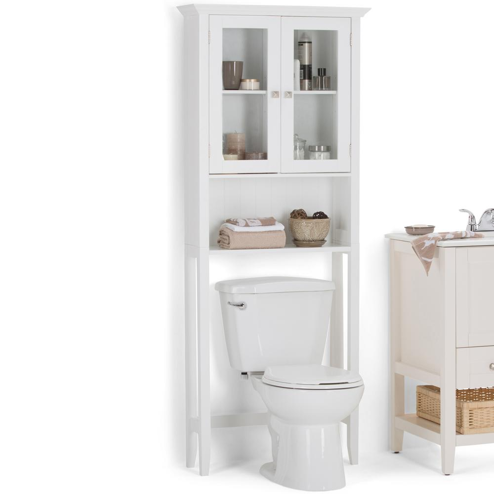 Simpli Home Acadian 27.6 in. W Space Saver Cabinet in White-AXCBCACA ...