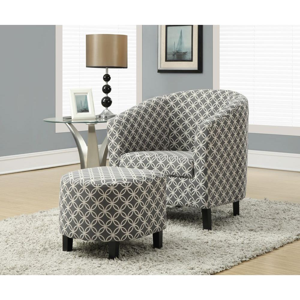 Superior Monarch Specialties Grey Cotton Arm Chair With Ottoman