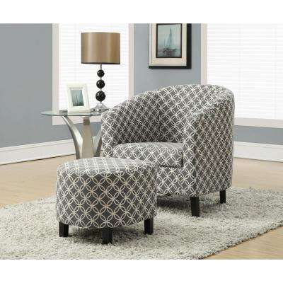 Grey Cotton Arm Chair with Ottoman