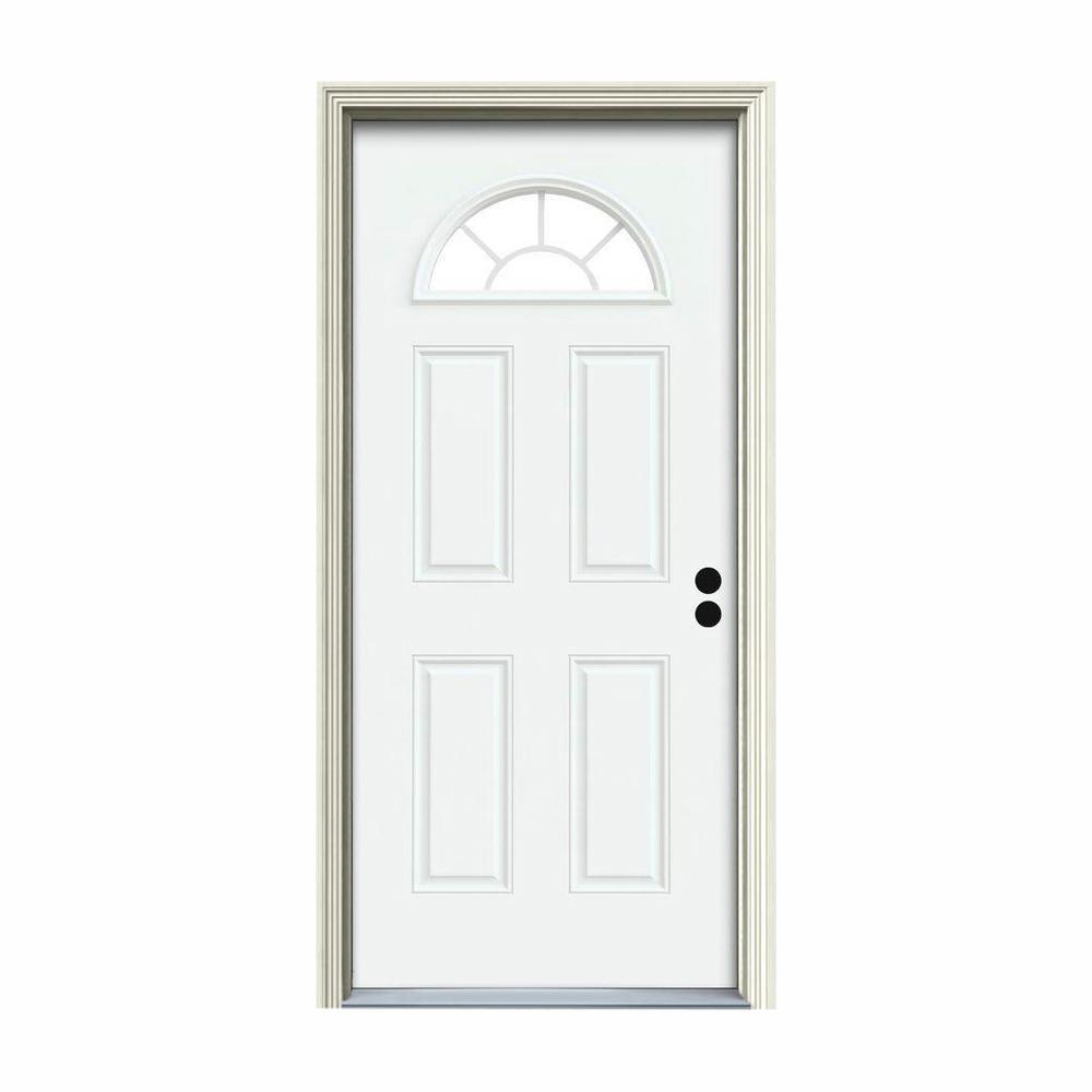 JELD-WEN 32 in  x 80 in  Fan Lite White Painted Steel Prehung Left-Hand  Inswing Front Door w/Brickmould