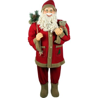 5 ft. Christmas Standing Santa Holding Bear and Gift Sack Wearing Red Plush Suit with Sherpa Trim