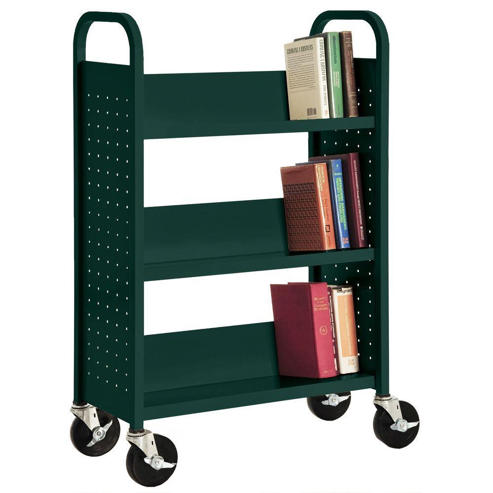 32 in. W x 14 in. D x 46 in. H Single Sided 3-Sloped Shelf Booktruck in Forest Green