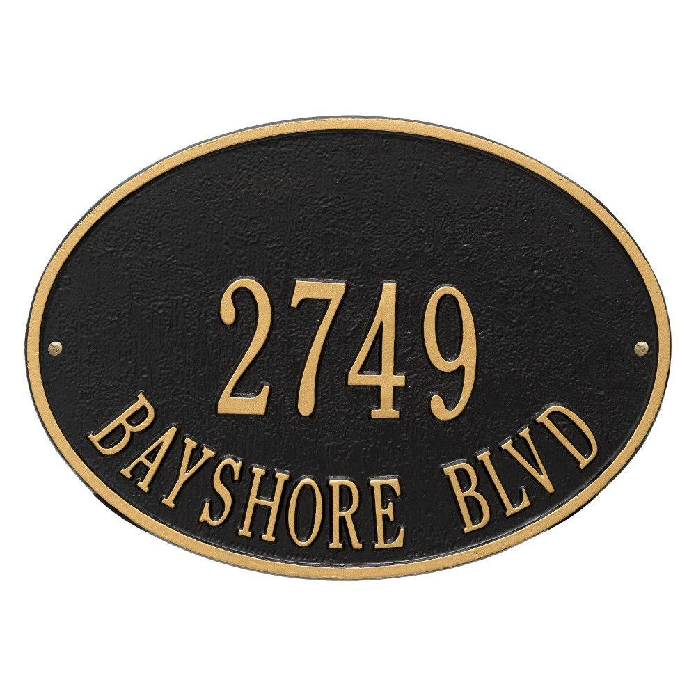 Hawthorne Standard Oval Black/Gold Wall 2-Line Address Plaque