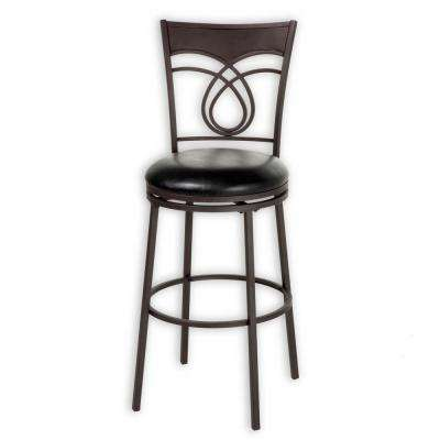 30 in. Madison Metal Bar Stool with Black Upholstered Swivel-Seat and Umber Metal Frame Finish