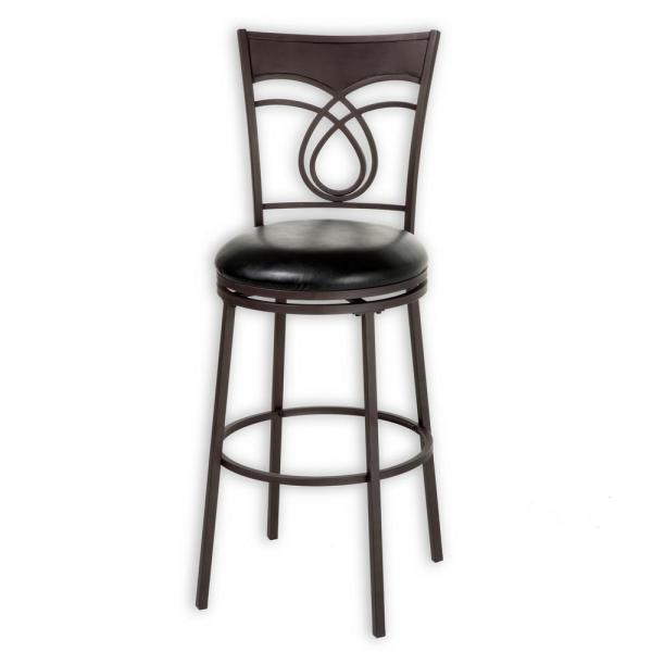 Fashion Bed Group 30 in. Madison Metal Bar Stool with Black Upholstered Swivel-Seat and Umber Metal Frame Finish
