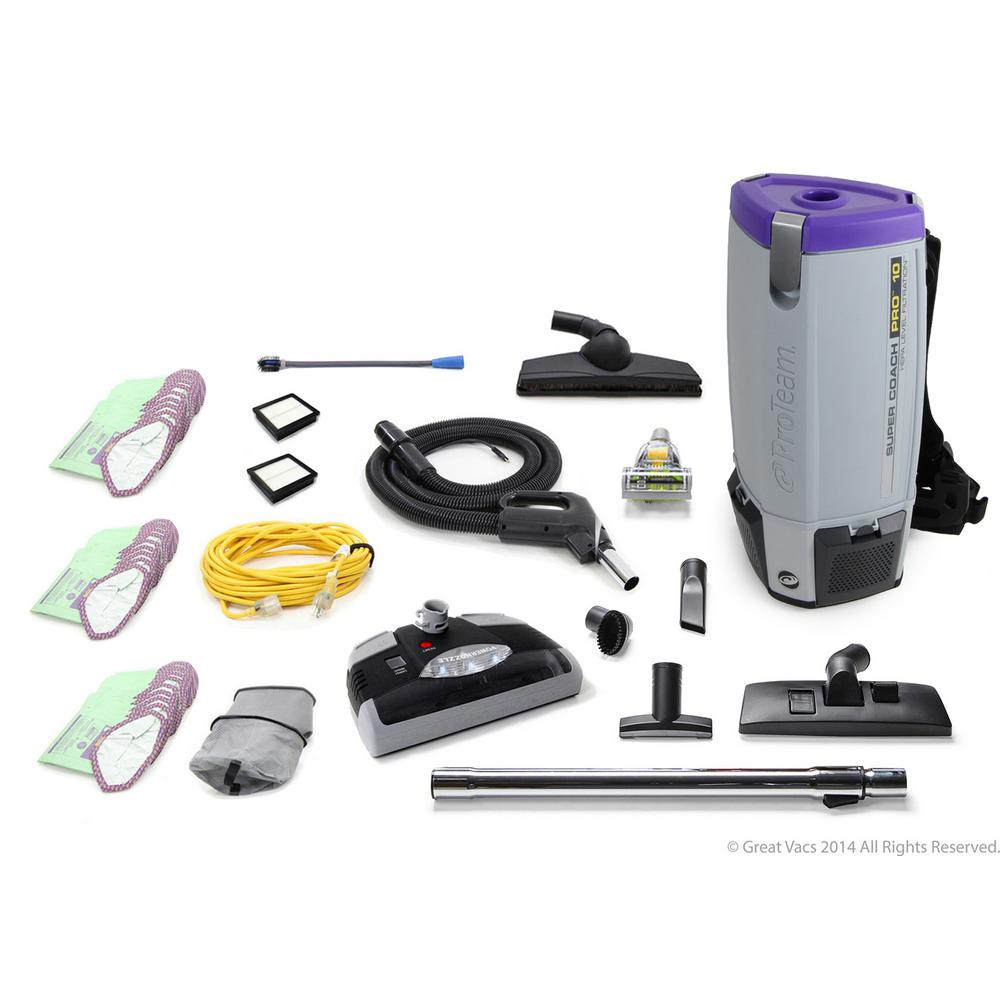ProTeam Loaded Super Coach Pro 10 Qt. Commercial Backpack Vacuum Cleaner with Power head