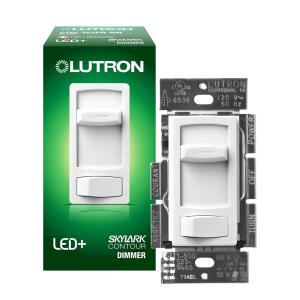 Single-Pole or 3-Way Skylark Contour LED+ Dimmer Switch for Dimmable LED, Halogen and Incandescent Bulbs, White