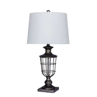 28 in. Antique Silver Open Metal Cage Urn Table Lamp
