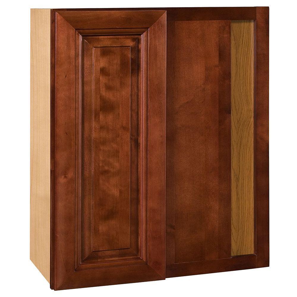 Lyndhurst Assembled 24x36x12 in. Single Door Hinge Right Wall Kitchen Blind Corner Cabinet in Cabernet