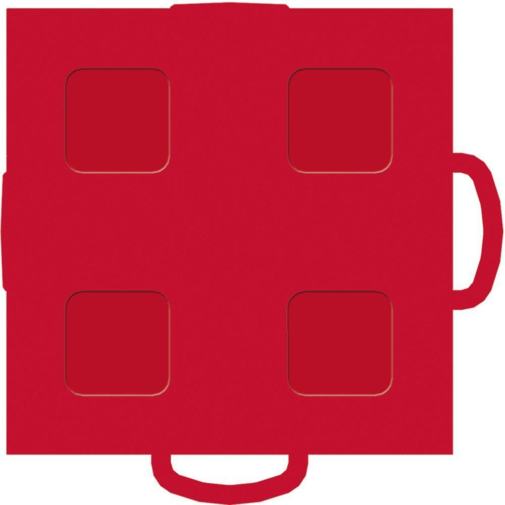 WeatherTech TechFloor 3 in. x 3 in. Red/Red Vinyl Flooring Tiles (4-Pack)